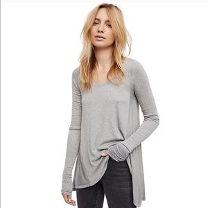 NWT Free People Gray January Tee Long Sleeve SZ S
